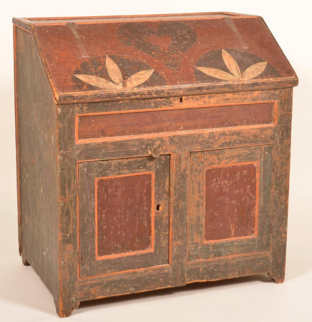 Johannes Spitler Paint decorated Pine Slant-lid Desk. - 2