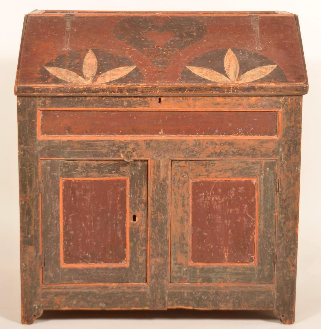 Johannes Spitler Paint decorated Pine Slant-lid Desk. - 3