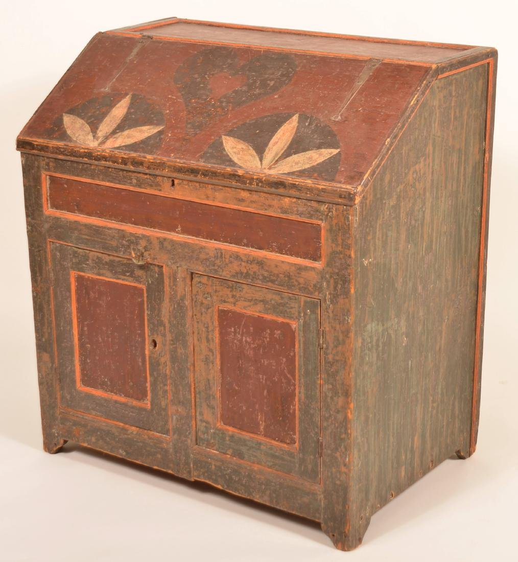 Johannes Spitler Paint decorated Pine Slant-lid Desk. - 4