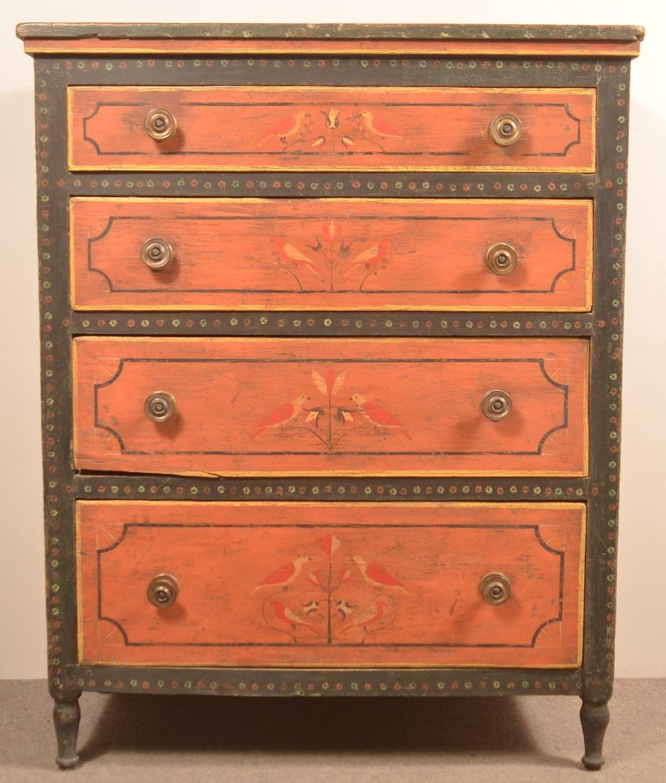 Mahantango Valley Paint Decorated Chest of Drawers. - 2