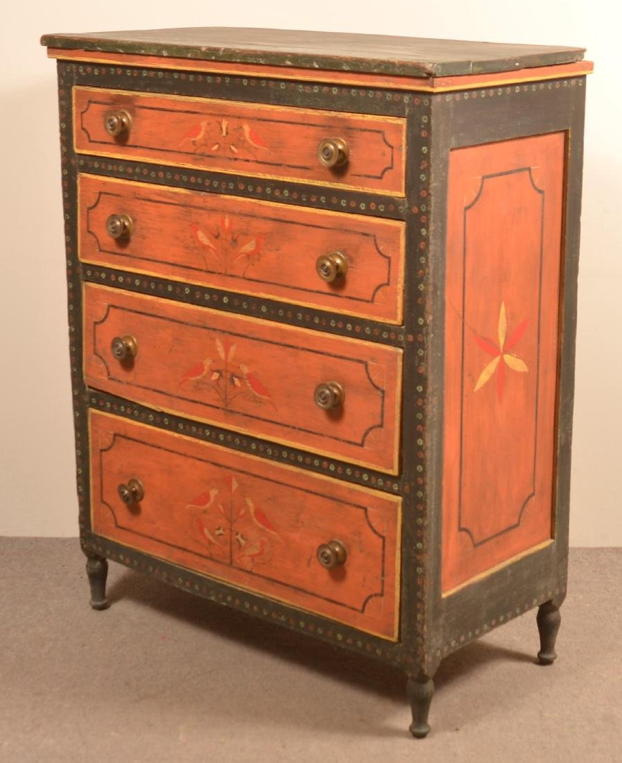 Mahantango Valley Paint Decorated Chest of Drawers. - 5
