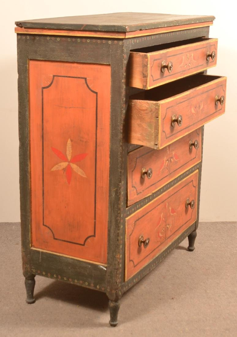 Mahantango Valley Paint Decorated Chest of Drawers. - 6
