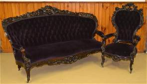 Rococo Revival Rosewood Sofa and Gentleman's Chair.