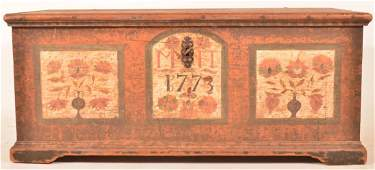 Christian Selzer Decorated Dower Chest Dated 1773
