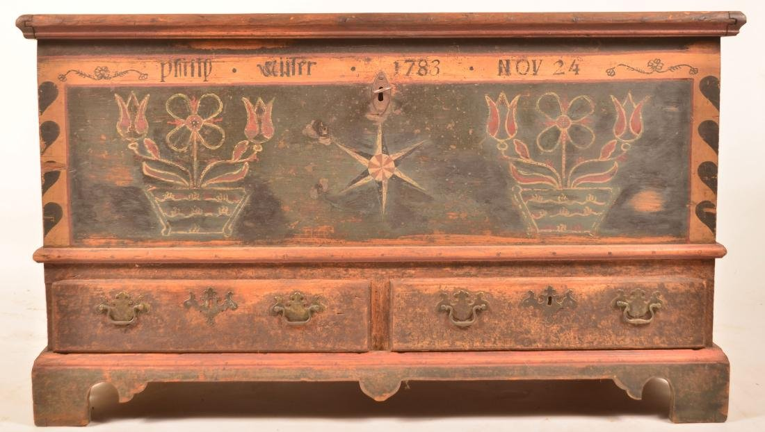 1783 Kutztown, Berks County, PA Decorated Dower Chest.