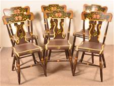 Set of Six Antique BootJack Back Sidechairs