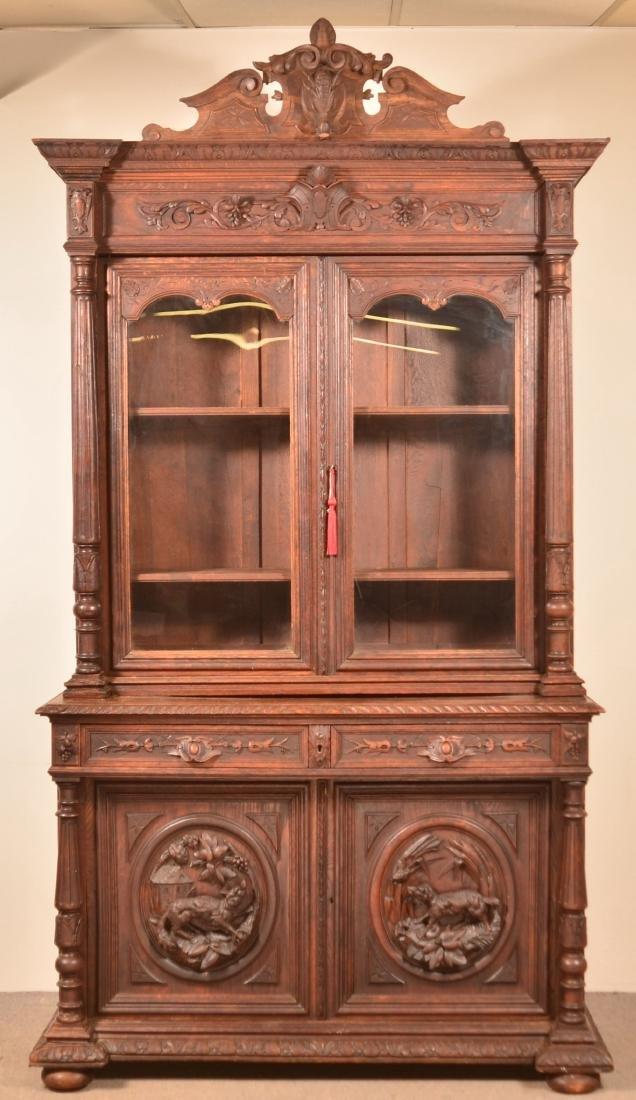 German Carved Oak Cupboard Top Sideboard.