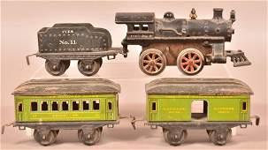 Ives Four Piece O-Gauge Passenger Train Set.