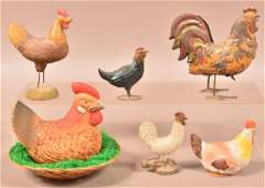 Lot of Six Antique/Vintage Rooster/Hen Items.
