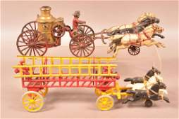 Two Cast Iron Horse Drawn Pull Toys