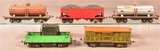 Five Lionel Standard Gauge Freight Cars.