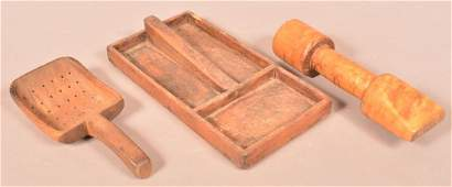 Three Pieces of Antique Wood Utilitarian Wares