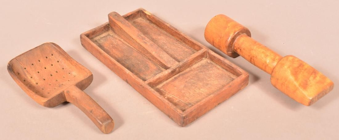 Three Pieces of Antique Wood Utilitarian Wares.