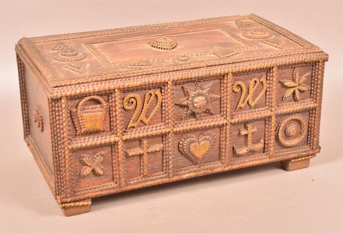 Antique Tramp Art Storage Box.