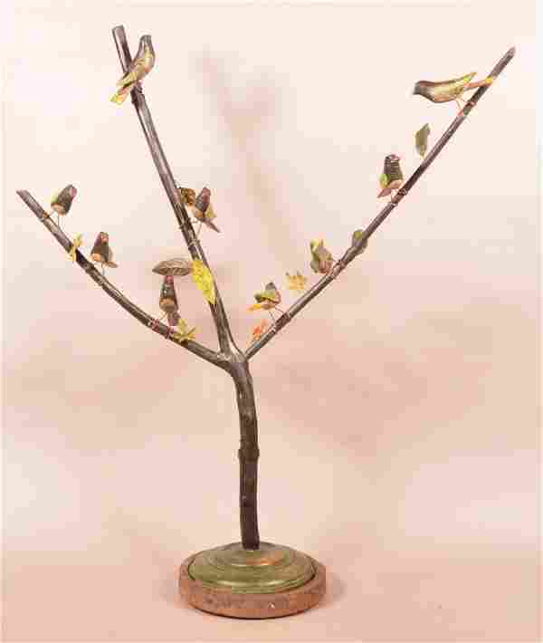 Folk Art Carved and Painted Wood Bird Tree.