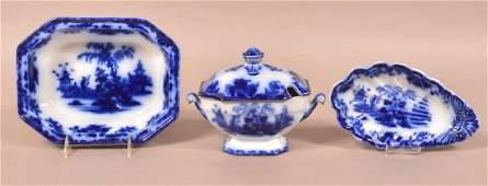 """3 Pieces of """"Scinde"""" Pattern Flow Blue China."""