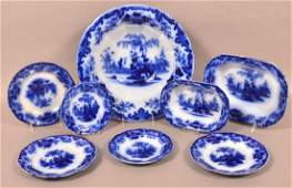 """8 Pieces of """"Scinde"""" Pattern Flow Blue China."""