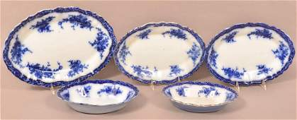 """5 Pieces of Flow Blue """"Touraine"""" Pattern China."""