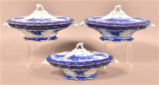 """3 Flow Blue """"Touraine"""" Covered Vegetable Bowls."""