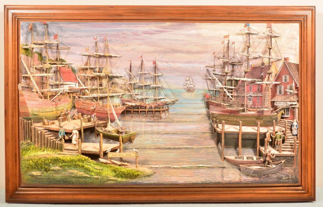 Abner Zook Mixed Media Diorama Harbor Scene.