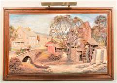Abner Zook Mixed Media Diorama Mill Scene.