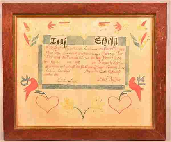 1783 Taufschein Attributed to Taufzuegen Artist.