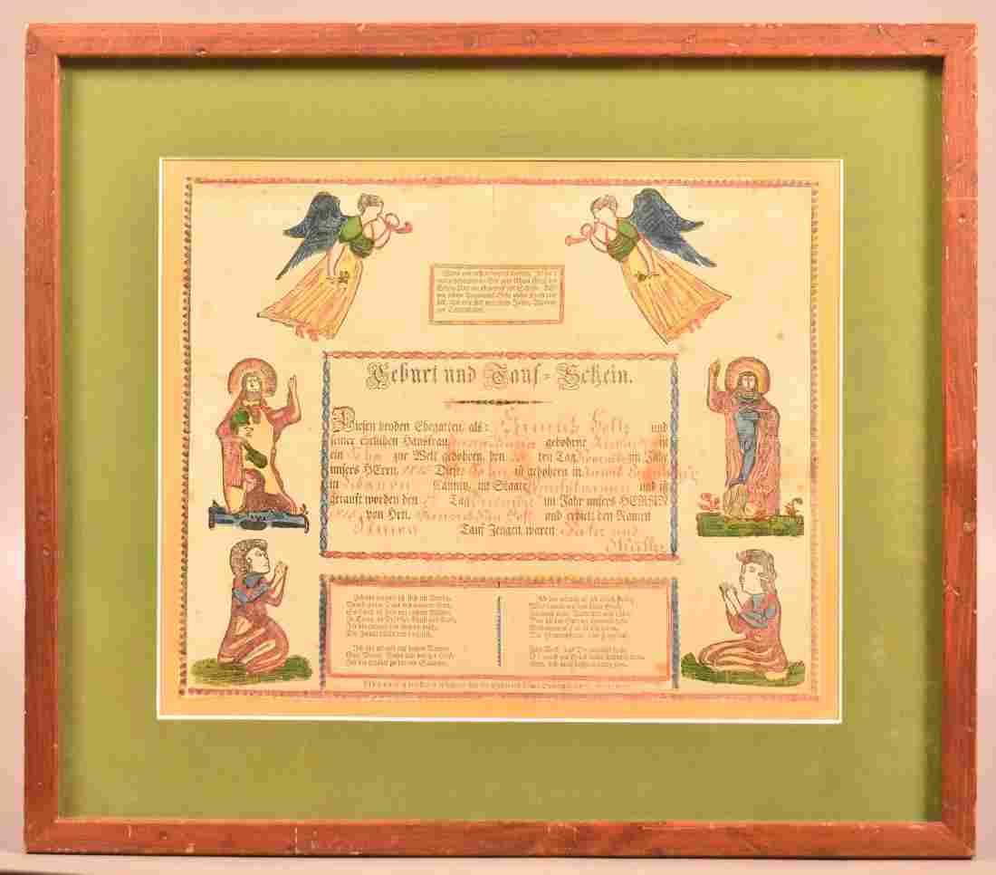 Printed and Illuminated Lebanon Co. Taufschein.