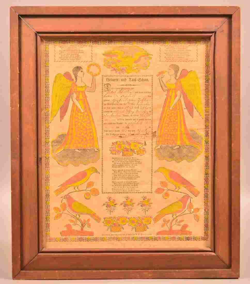G.S. Peters 1829 Printed Taufschein.