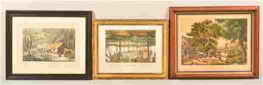 3 Various 19th Century Colored Lithographs.