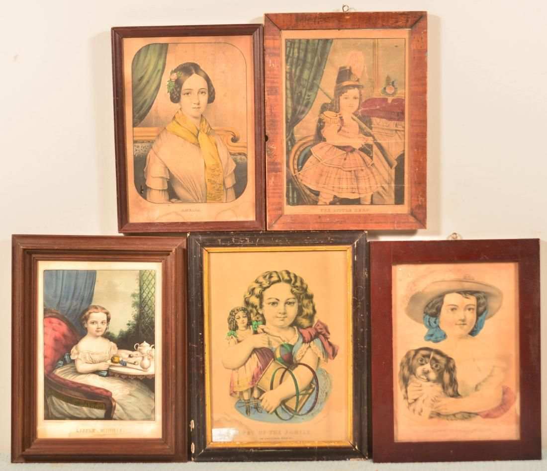 Five Various 19th Century Colored Lithographs.