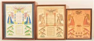 Three PA 19th Century Printed Taufscheins.