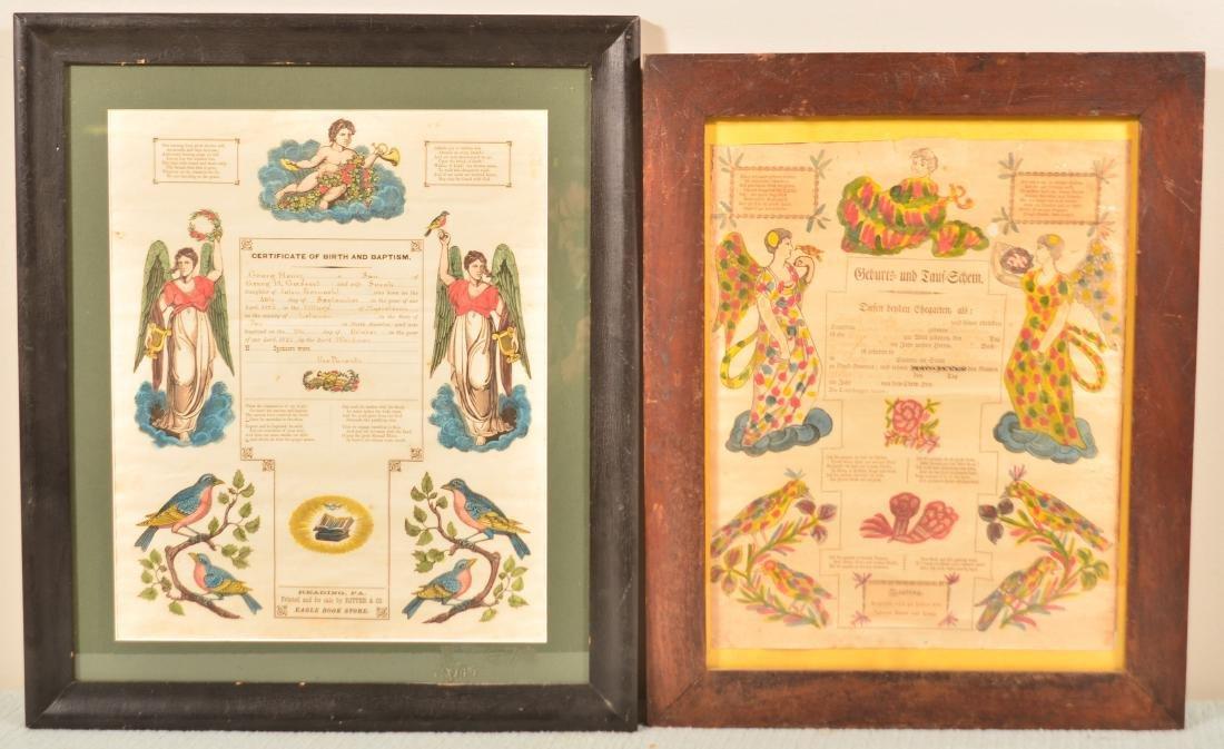 2 Reading, PA 19th Century Printed Taufscheins.