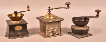 Three Various Antique Metal Coffee Grinders