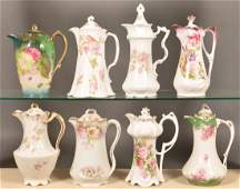 Eight AntiqueVintage Floral Decorated Chocolate Pots
