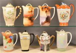 Eight AntiqueVintage Decorated China Chocolate Pots