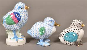 3 Herend Hungary Porcelain Peeps and Duckling