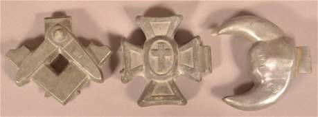 Three Vintage Pewter Masonic Ice Cream Molds