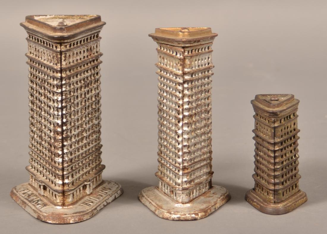 Three Kenton Cast Iron Flat Iron Building Banks.
