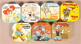 Seven Various Vintage Tin Lithograph Daily Dime Banks