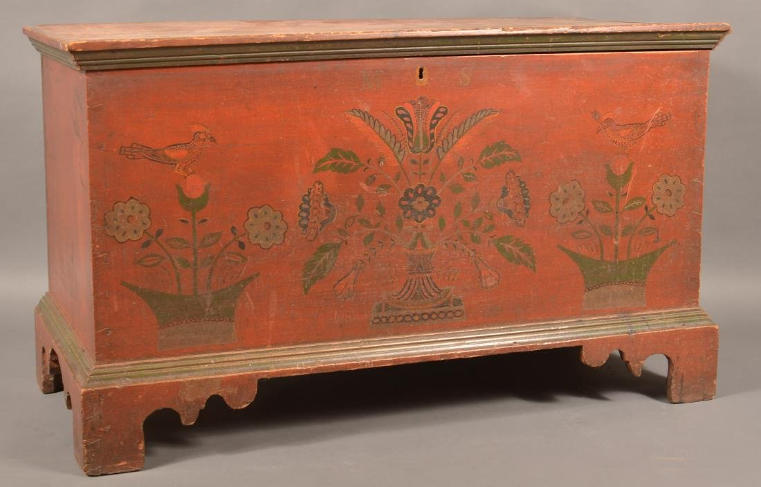 Rare Joel Palmer Paint Decorated Blanket Chest.