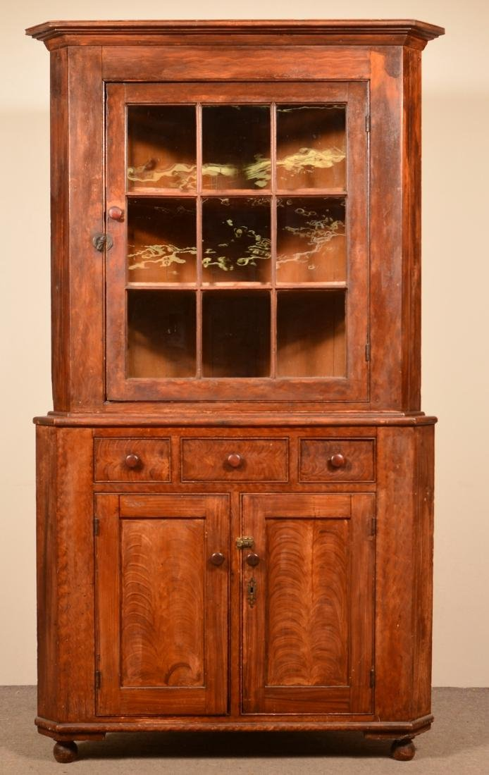 Rupp Paint Decorated Softwood Corner Cupboard.