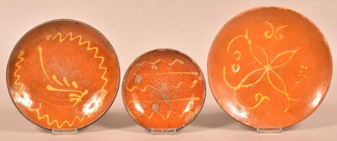 3 PA 19th Century Yellow Slip Decorated Redware Plates.