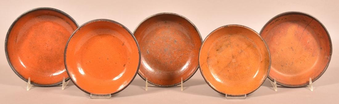 Five Various 19th Century Glazed Redware Bowls.