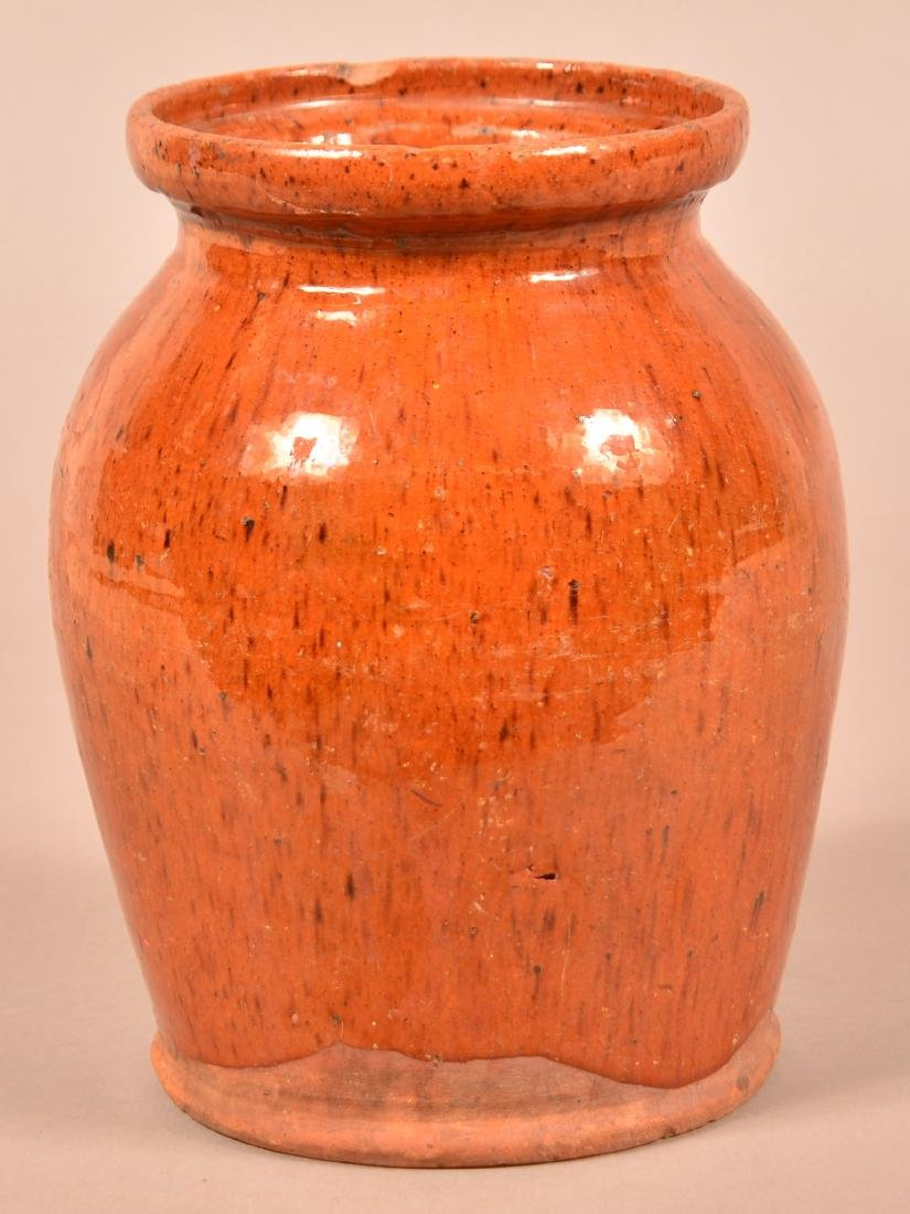 19th Century Speckle Glazed Redware Storage Jar.