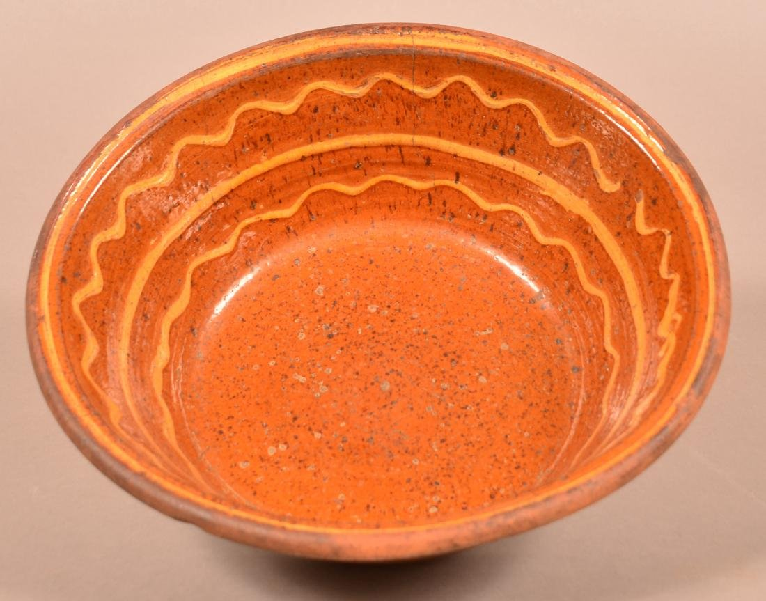 Moravian Early 19th Century Yellow Slip Decorated Bowl.