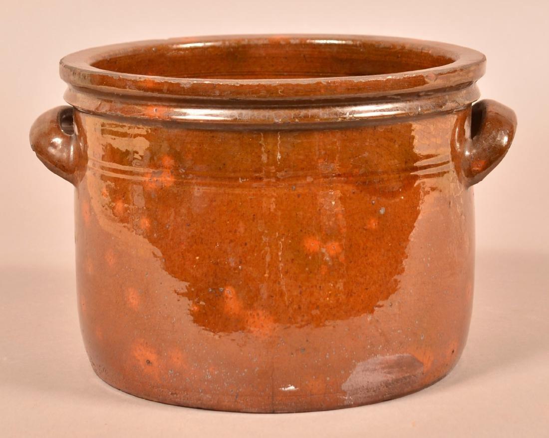 New England 19th Century Glazed Redware Crock.