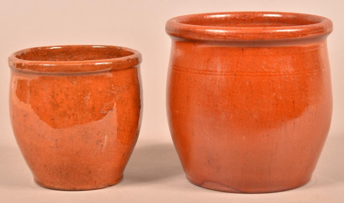 Two 19th Century Glazed Redware Storage Jars.