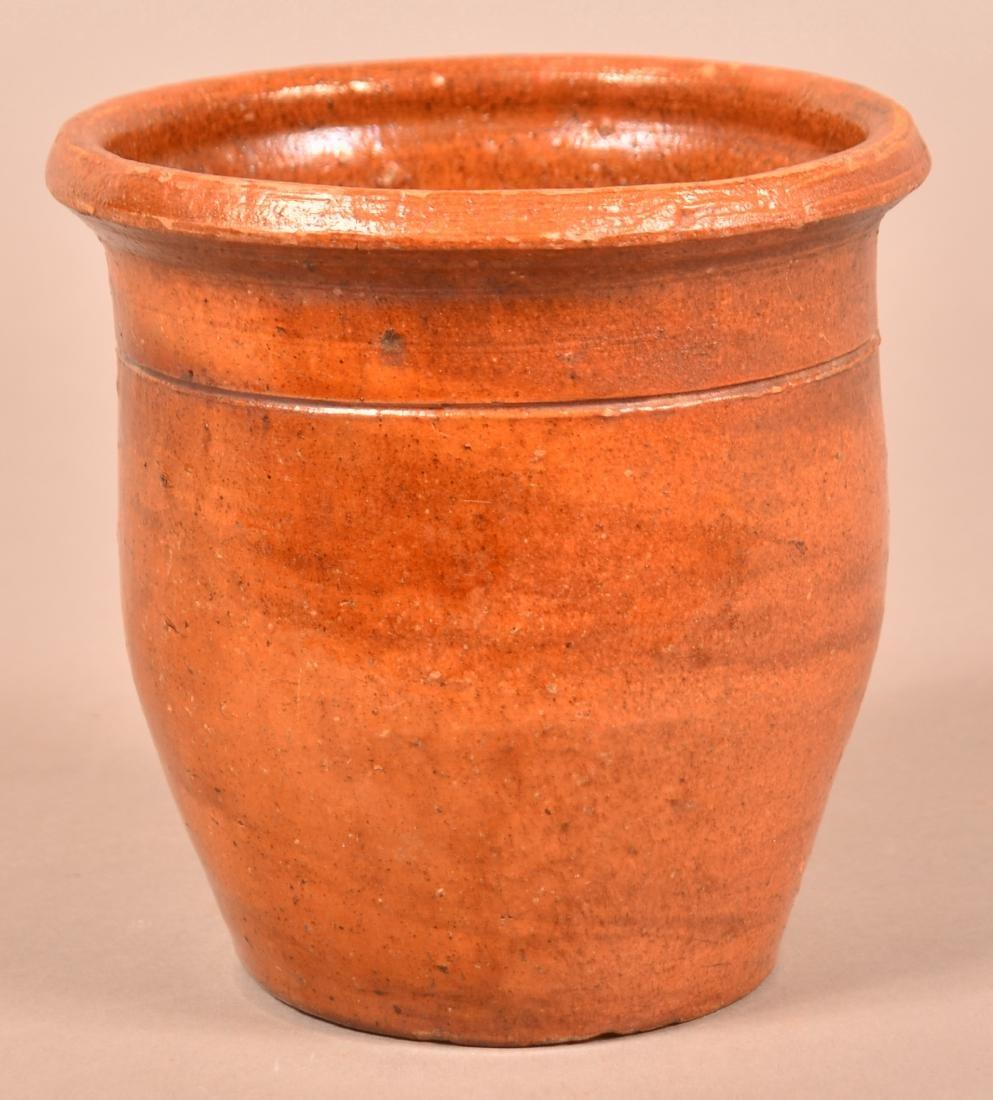 19th Century Brush Glazed Redware Storage Jar.