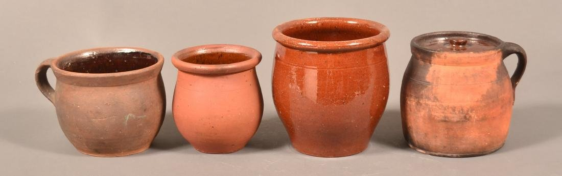 Four Pieces of 19th Century Redware Pottery.