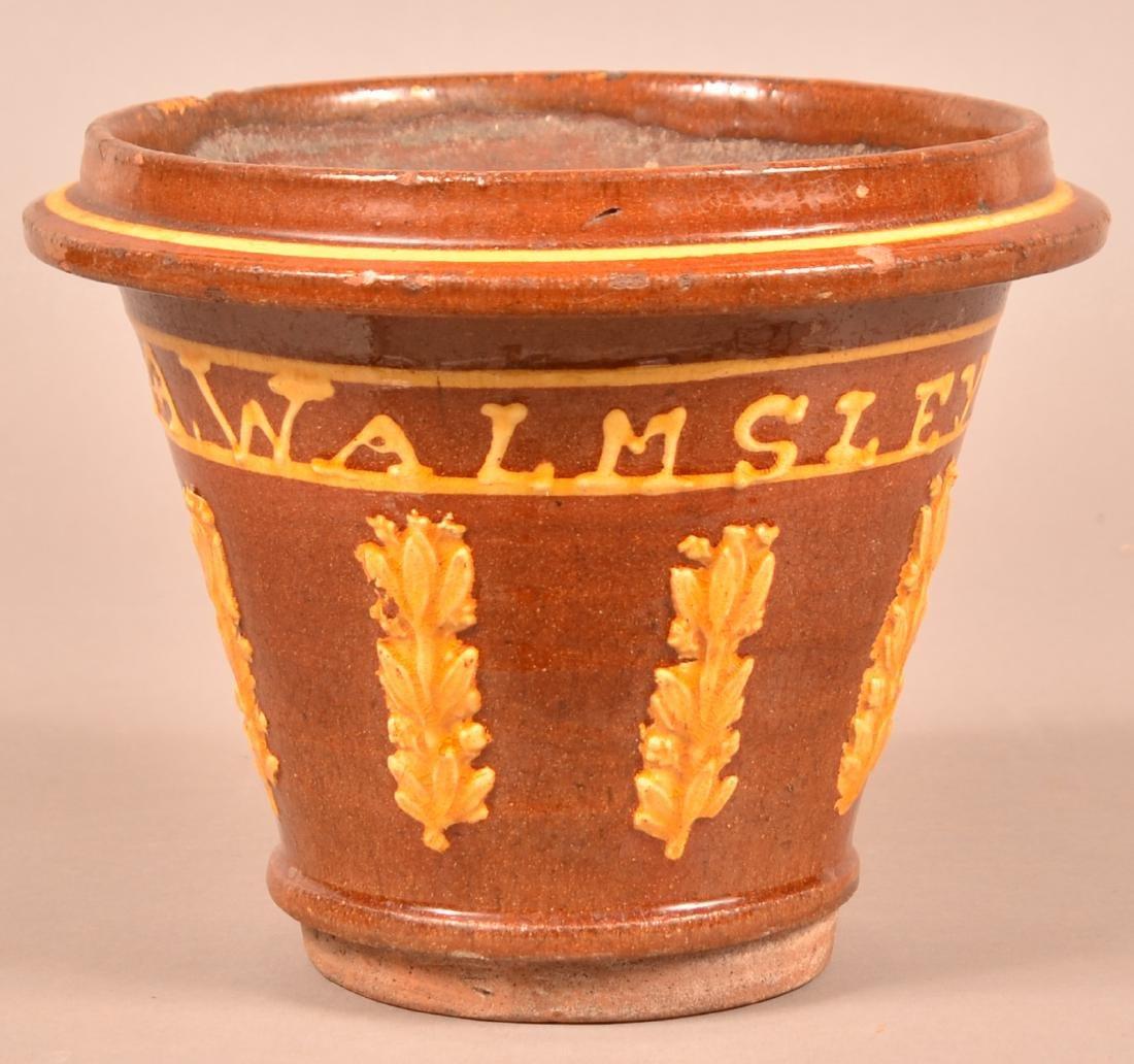 English Redware Flower Pot Signed A. Walmsley, 1874.